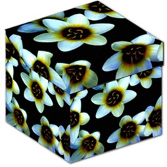 Light Blue Flowers On A Black Background Storage Stool 12