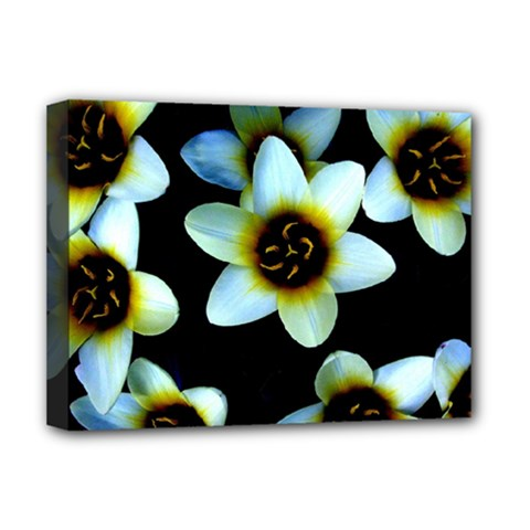 Light Blue Flowers On A Black Background Deluxe Canvas 16  X 12