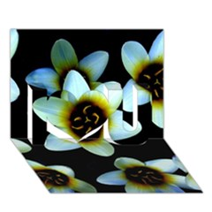 Light Blue Flowers On A Black Background I Love You 3d Greeting Card (7x5)  by Costasonlineshop