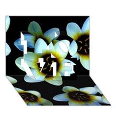 Light Blue Flowers On A Black Background LOVE 3D Greeting Card (7x5)  by Costasonlineshop