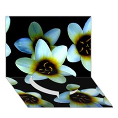 Light Blue Flowers On A Black Background Circle Bottom 3d Greeting Card (7x5)  by Costasonlineshop