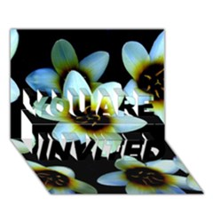 Light Blue Flowers On A Black Background You Are Invited 3d Greeting Card (7x5)  by Costasonlineshop