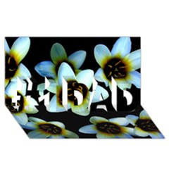 Light Blue Flowers On A Black Background #1 Dad 3d Greeting Card (8x4)