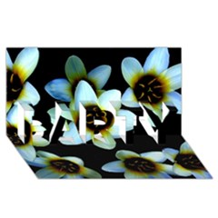Light Blue Flowers On A Black Background Party 3d Greeting Card (8x4)  by Costasonlineshop