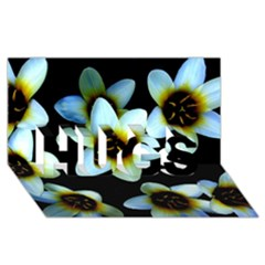 Light Blue Flowers On A Black Background Hugs 3d Greeting Card (8x4)  by Costasonlineshop