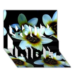 Light Blue Flowers On A Black Background You Did It 3d Greeting Card (7x5)