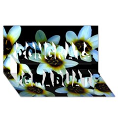 Light Blue Flowers On A Black Background Congrats Graduate 3d Greeting Card (8x4)  by Costasonlineshop