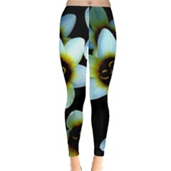 Light Blue Flowers On A Black Background Leggings  by Costasonlineshop