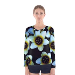Light Blue Flowers On A Black Background Women s Long Sleeve Tee by Costasonlineshop