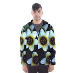 Light Blue Flowers On A Black Background Hooded Wind Breaker (men)