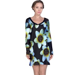 Light Blue Flowers On A Black Background Long Sleeve Nightdress by Costasonlineshop