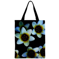 Light Blue Flowers On A Black Background Zipper Classic Tote Bags by Costasonlineshop
