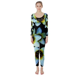 Light Blue Flowers On A Black Background Long Sleeve Catsuit