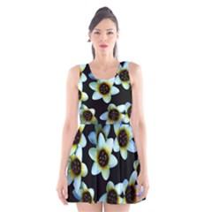 Light Blue Flowers On A Black Background Scoop Neck Skater Dress