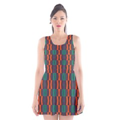 Green Orange Shapes Pattern Scoop Neck Skater Dress