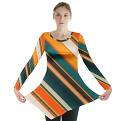 Diagonal Stripes In Retro Colors Long Sleeve Tunic