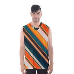 Diagonal Stripes In Retro Colors Men s Basketball Tank Top