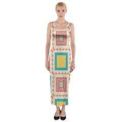Pastel Squares Pattern Fitted Maxi Dress