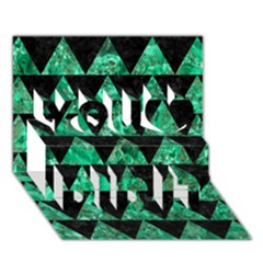 Triangle2 Black Marble & Green Marble You Did It 3d Greeting Card (7x5) by trendistuff