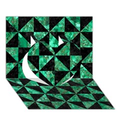 Triangle1 Black Marble & Green Marble Heart 3d Greeting Card (7x5) by trendistuff