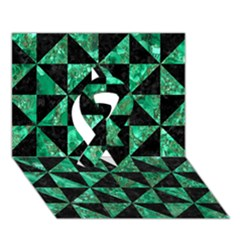 Triangle1 Black Marble & Green Marble Ribbon 3d Greeting Card (7x5) by trendistuff