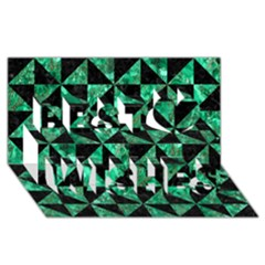 Triangle1 Black Marble & Green Marble Best Wish 3d Greeting Card (8x4) by trendistuff