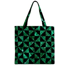 Triangle1 Black Marble & Green Marble Zipper Grocery Tote Bag by trendistuff