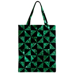 Triangle1 Black Marble & Green Marble Zipper Classic Tote Bag by trendistuff