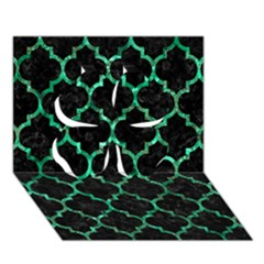 Tile1 Black Marble & Green Marble (r) Clover 3d Greeting Card (7x5)