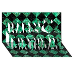 Square2 Black Marble & Green Marble Happy Birthday 3d Greeting Card (8x4) by trendistuff