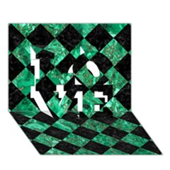Square2 Black Marble & Green Marble Love 3d Greeting Card (7x5) by trendistuff