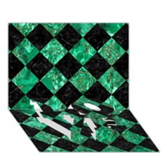 Square2 Black Marble & Green Marble Love Bottom 3d Greeting Card (7x5) by trendistuff