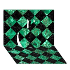 Square2 Black Marble & Green Marble Apple 3d Greeting Card (7x5) by trendistuff