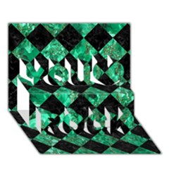 Square2 Black Marble & Green Marble You Rock 3d Greeting Card (7x5) by trendistuff