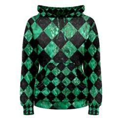 Square2 Black Marble & Green Marble Women s Pullover Hoodie by trendistuff