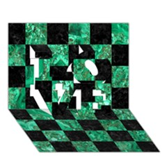 Square1 Black Marble & Green Marble Love 3d Greeting Card (7x5) by trendistuff