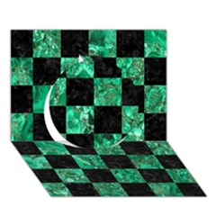 Square1 Black Marble & Green Marble Circle 3d Greeting Card (7x5) by trendistuff
