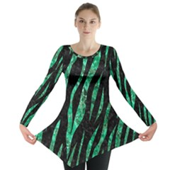 Skin3 Black Marble & Green Marble (r) Long Sleeve Tunic