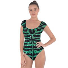 Skin2 Black Marble & Green Marble (r) Short Sleeve Leotard