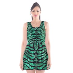 Skin2 Black Marble & Green Marble Scoop Neck Skater Dress