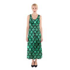 Scales1 Black Marble & Green Marble Sleeveless Maxi Dress