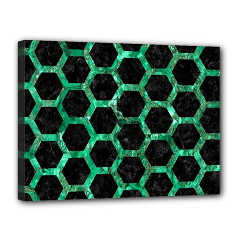 Hexagon2 Black Marble & Green Marble (r) Canvas 16  X 12  (stretched) by trendistuff