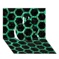 Hexagon2 Black Marble & Green Marble (r) Apple 3d Greeting Card (7x5)
