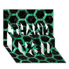 Hexagon2 Black Marble & Green Marble (r) Thank You 3d Greeting Card (7x5) by trendistuff