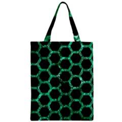 Hexagon2 Black Marble & Green Marble (r) Zipper Classic Tote Bag by trendistuff