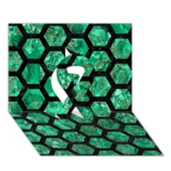 Hexagon2 Black Marble & Green Marble Ribbon 3d Greeting Card (7x5) by trendistuff