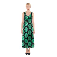 Hexagon2 Black Marble & Green Marble Sleeveless Maxi Dress
