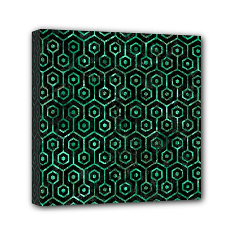 Hexagon1 Black Marble & Green Marble (r) Mini Canvas 6  X 6  (stretched) by trendistuff