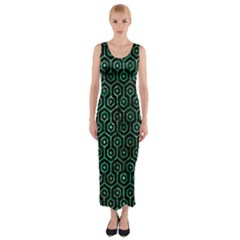 Hexagon1 Black Marble & Green Marble (r) Fitted Maxi Dress by trendistuff