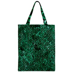 Hexagon1 Black Marble & Green Marble Zipper Classic Tote Bag by trendistuff